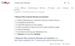 Vraagje aan Google: Waarom zijn reviews belangrijk?